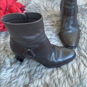ole Haan Brown Leather Harness Zip Ankle Boots